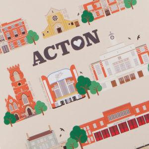 Acton Illustrated Print