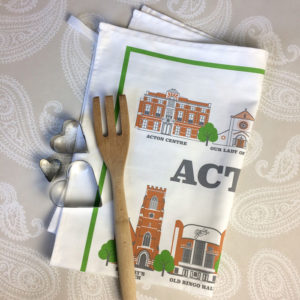 Acton Illustrated Tea Towel