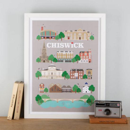 Chiswick Landmarks Print Grey