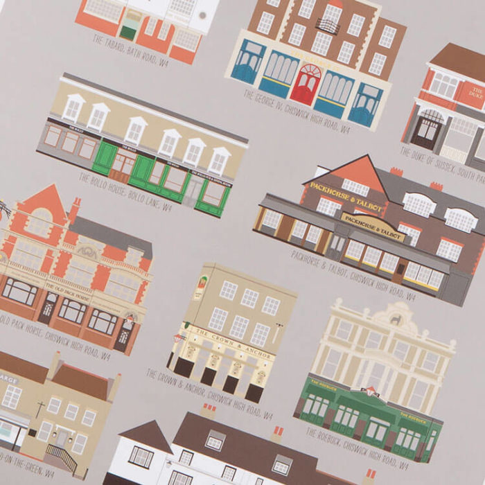 Chiswick Pubs Print Grey