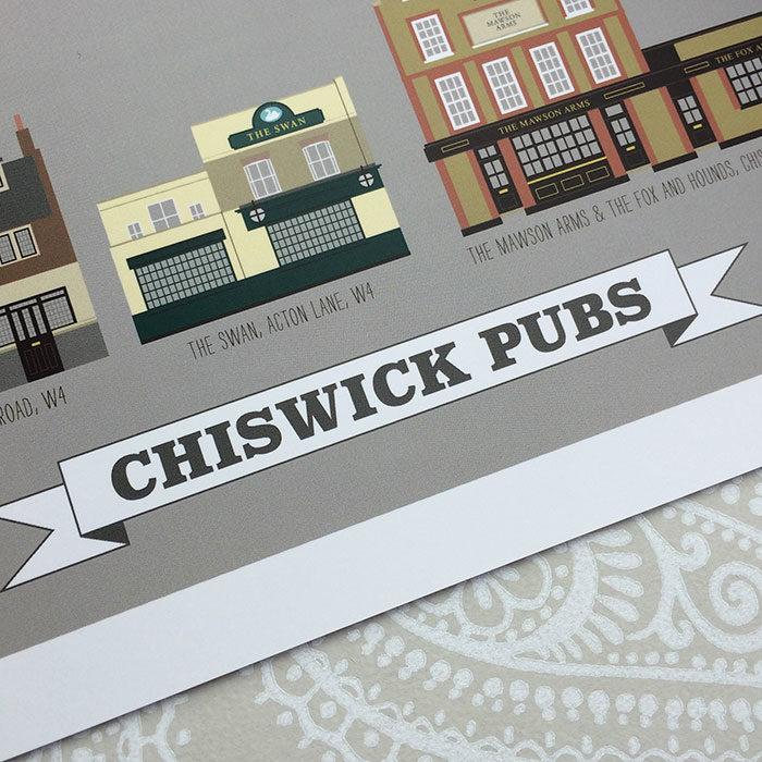 Chiswick Pub Illustrated Print (Grey)