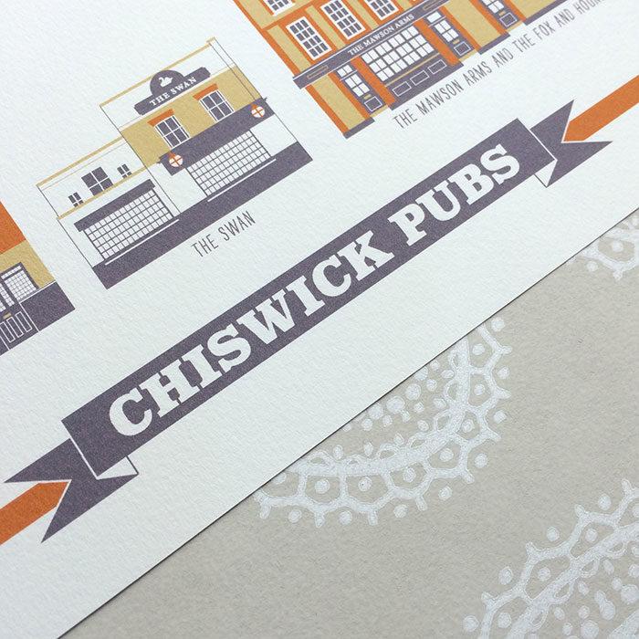 Chiswick Pub Illustrated Print (White)
