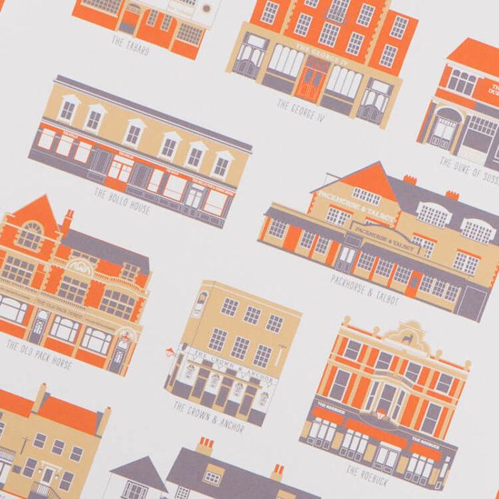 Chiswick Pubs Print White