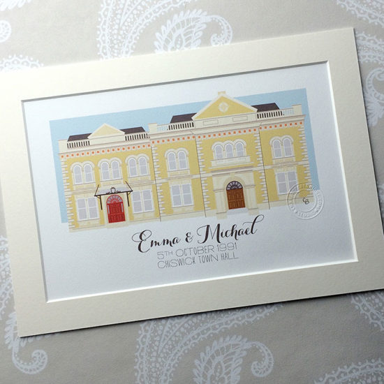 Chiswick Town Hall Illustrated A4 Print