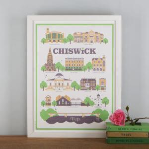 Chiswick Landmarks Print White