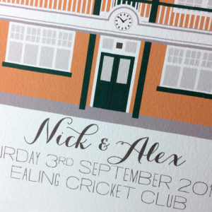 Ealing Cricket Club Illustrated A4 Print