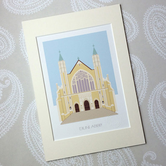 Ealing Abbey Illustrated A4 Print