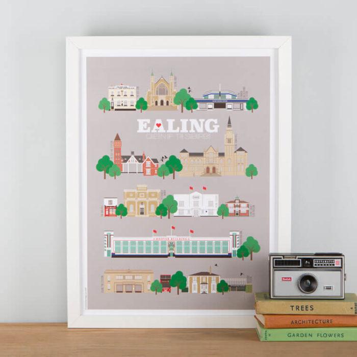 Ealing Landmarks Print Grey