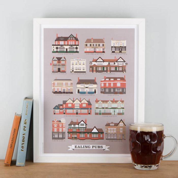 Ealing Pubs Print Grey