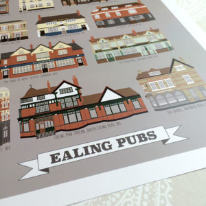 Ealing Pubs Illustrated Print (Grey)