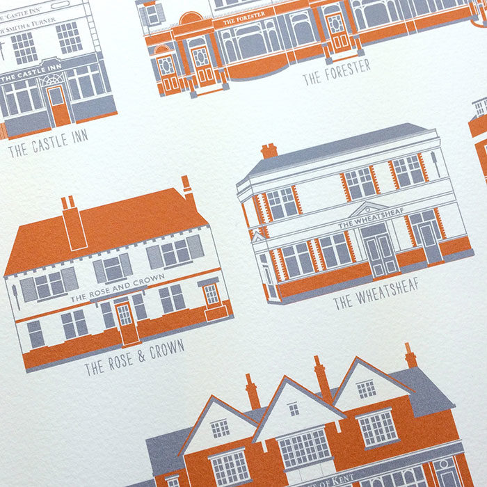 Ealing Pubs Illustrated Print (White)