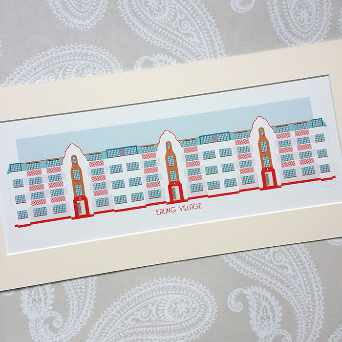 Ealing Village Illustrated A4 Print