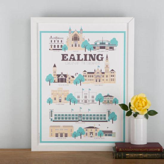 Ealing Landmarks Print White