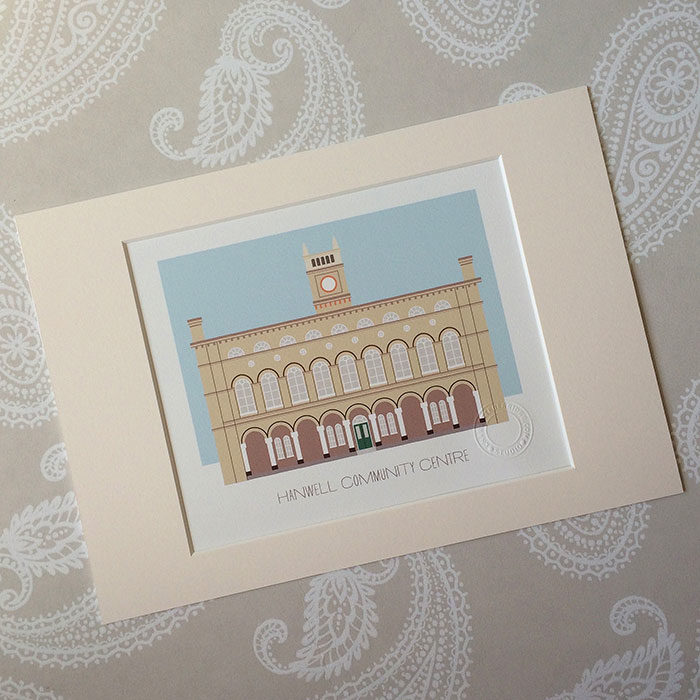 Hanwell Community Centre Illustrated A4 Print
