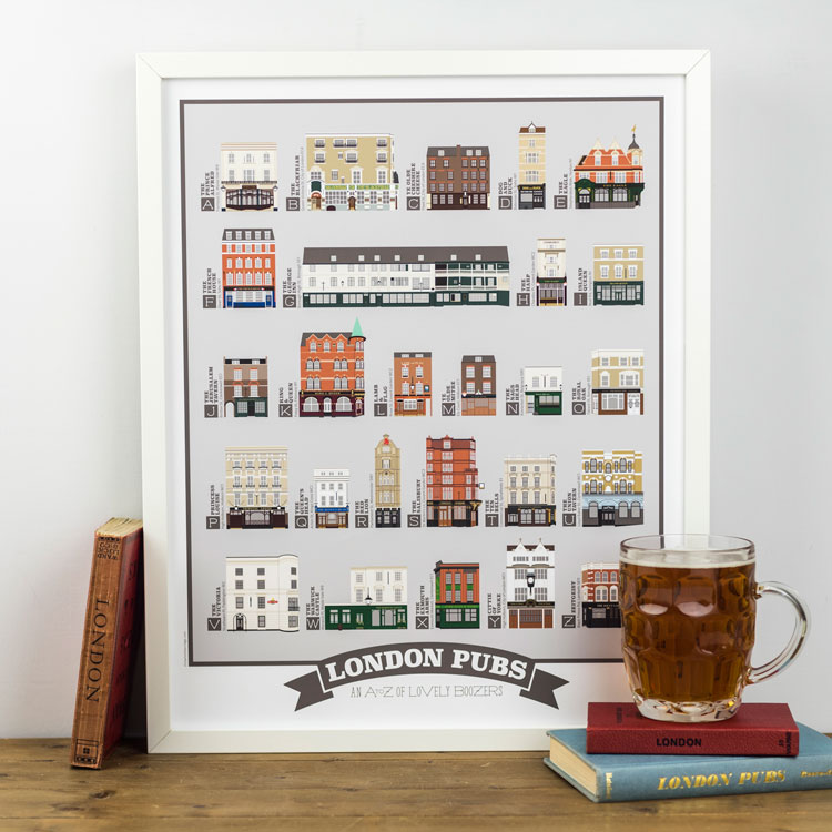 London Pubs Alphabet Print