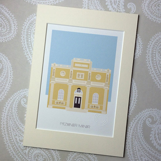 Pitzhanger Manor, Ealing Illustrated A4 Print