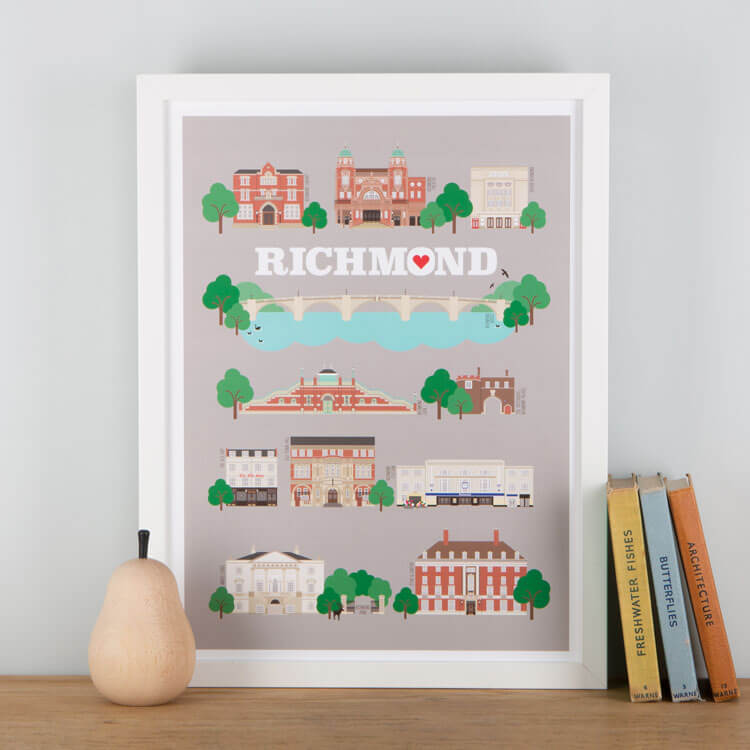 Richmond Landmarks Print Grey