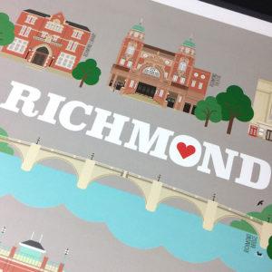 Richmond Illustrated Print (Grey)