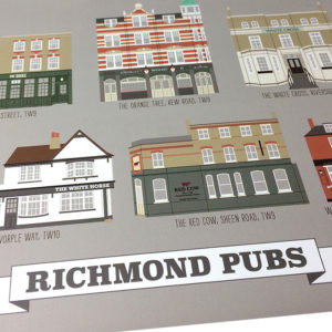 Richmond Pubs Illustrated Print (Grey)