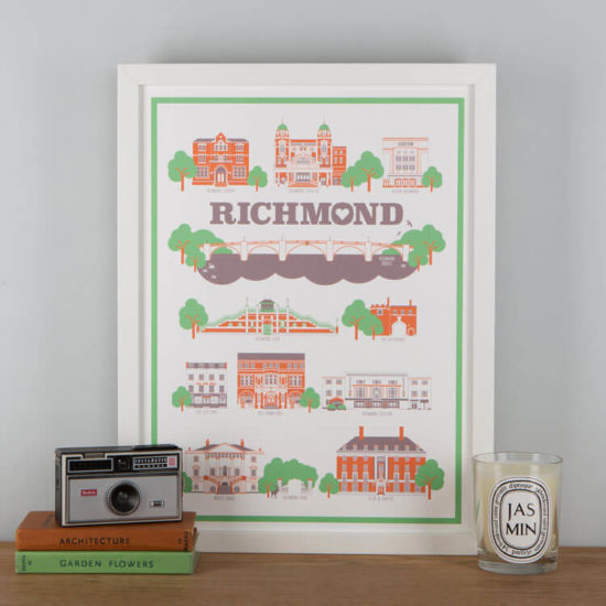 Richmond Landmarks Print White