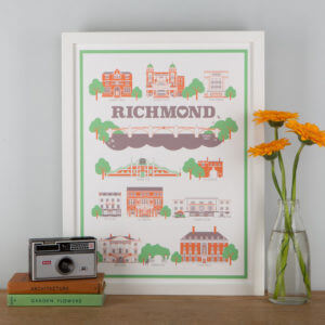 Richmond Landmarks Print White