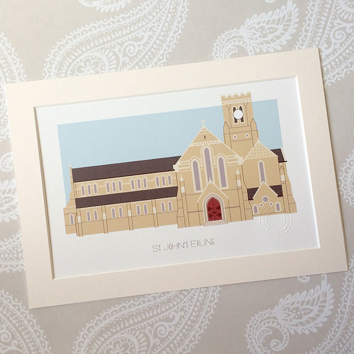 St John's Ealing Illustrated A4 Print