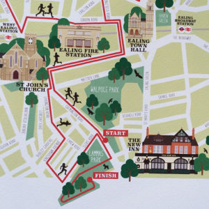 Ealing Half Marathon Illustrated Map Print