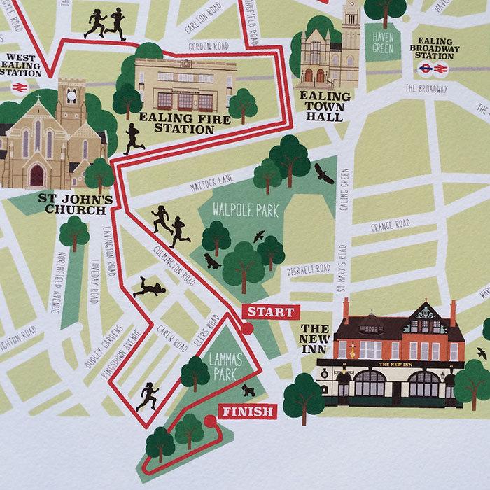 Ealing Half Marathon Illustrated Map Print